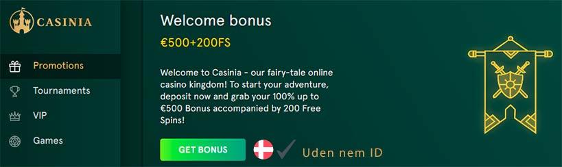Spil uden NemId hos Casinia online casino