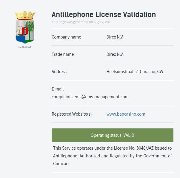 Bao Casino license
