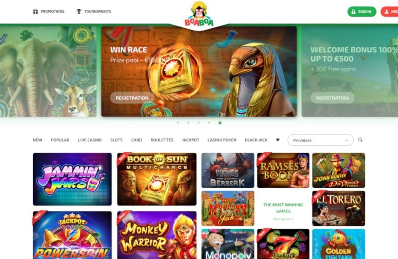 BoaBoa Casino home page