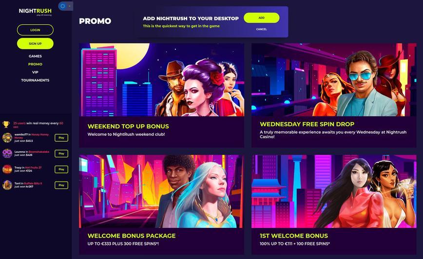 NightRush Casino velkomstbonus